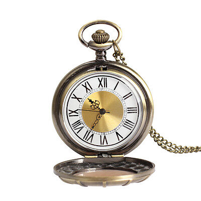 Unique Retro Big Roman Numeral Gold Face with Metal Chain Pocket Watch New