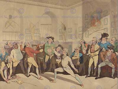 Thomas Rowlandson Mr Angelo Fencing Academy Old Art Painting Poster Bb4982B