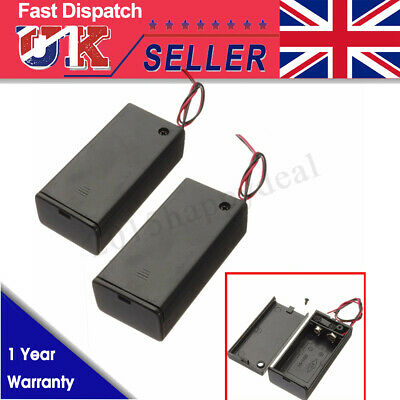 2x 9V Volt Enclosed Enclosure Battery Box Holder With ON/OFF Switch & Wires