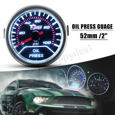 "2"" 52MM CAR MOTOR WHITE LED OIL PRESS PRESSURE 0-100 Psi GAUGE METER SMOKE LENS"