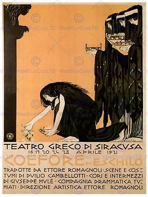 Theatre Stage Play Coefore Aeschylus Greek Syracuse Sicily Italy Poster 2180Py