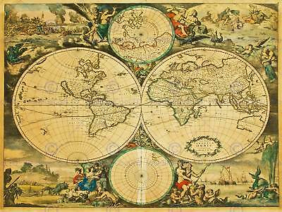 Vintage Map World Globe History Illustrated New Art Print Poster Picture Cc5084