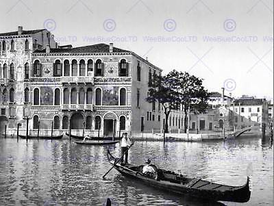 Grand Canal Da Mulla Palace Venice Italy Old Bw Photo Print Poster Art 841Bw