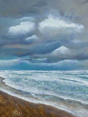 Painting Seascape Beach Stormy Sky Clouds Waves Rolling Art Print Poster Mp5494B