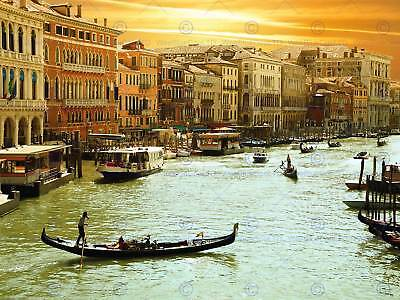Romantic Venice Grand Canal Cityscape Italy Gondola Art Print Poster Bmp913A