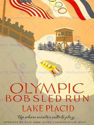 TX118 Vintage Winter Olympic Bobsled Run Travel Poster Re-Print A1//A2//A3