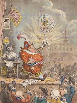 Painting Drawing Political Satire Gillray Theatrical Bubble Art Print Bb3207A