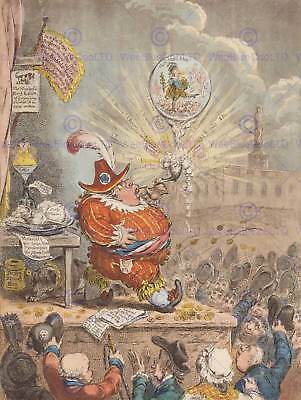 Painting Drawing Political Satire Gillray Theatrical Bubble Art Print Bb3207B