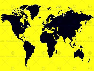 Yellow Black Map World Photo Art Print Poster Picture Bmp1607A