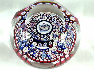 Whitefrairs QEII Paperweight Silver Jubilee 1952 1977 Milefiori Red White Blue