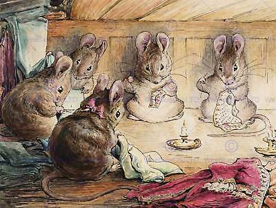 Helen Beatrix Potter The Mice Sewing The Mayors Coat Art Print Poster Hp350
