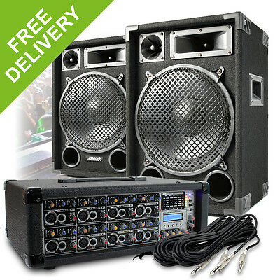"2x Max 12"" Party Disco Speakers + PA Amplifier Mixer + Cable DJ System 1200W"