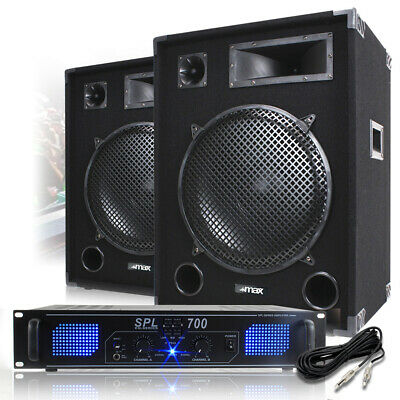 "2x Max 15"" PA Speaker and Amp Party Disco DJ Band Complete Sound System 2000W"