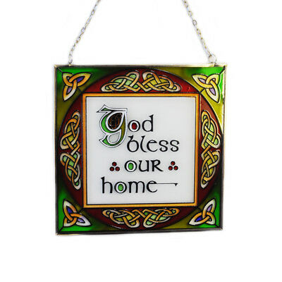 """6"""" Stained Glass Hanging Panel With God Bless Our Home Text"""