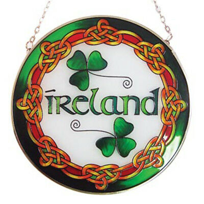 """6"""" Round Stained Glass Hanging Panel With Ireland Text"""
