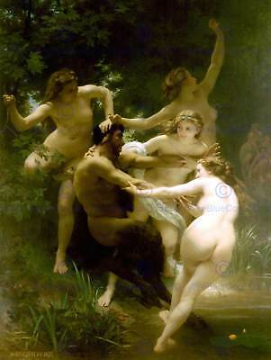 William Adolphe Bouguereau Nymphs Satyr Old Master Art Painting Print 3131Om