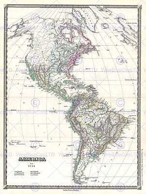 1855 Spruner Map The Americas Up To 1776 Vintage Poster Art Print 2928Py