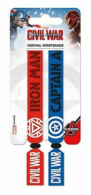 CAPTAIN AMERICA CIVIL WAR Pack Of 2 Fabric Festival Wristbands BY PYRAMID