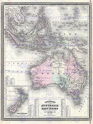 1870 Johnson Map Australia East Indies Southeast Asia Poster Art Print 2955Py