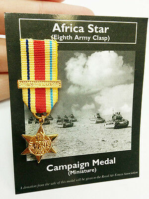 British Military Africa Star Eighth Army Clasp Mini War Campaign Medal