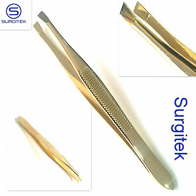 Gold Eyebrow Tweezers Hair Beauty Slanted Stainless Steel Tweezer Tool Prof New