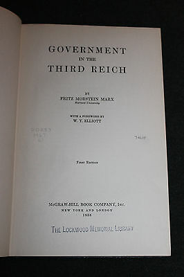 """Original Pre WW2 HC Book, ''Government in the Third Reich"""" 1936 d. 1st Edition"""