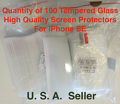 100X iPhone SE Tempered Glass High Quality Screen protectors film Lots For Apple