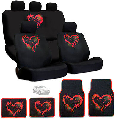 New Design Semi Custom Size Large Red Heart Car Seat Covers Mats Set For Ford