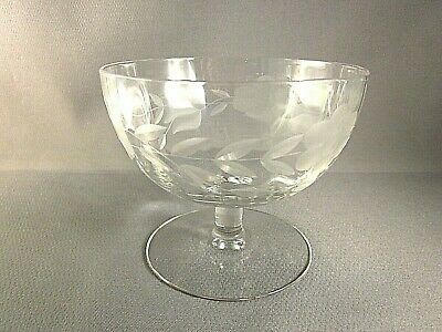 GLASS DESSERT CUPS ANTIQUE CRYSTAL Etched Floral Lot of 12