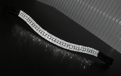 Equipride Diamante Bling Sparkly Browband 5 Row Crystals Dressage Clear Black