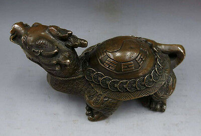 China Brass Copper Feng Shui Dragon Turtle Eight Diagrams Wealth Money Statue
