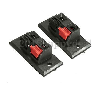 2 Double Spring Clip Audio Speaker Terminal Block Test Clamp Connector Box Panel