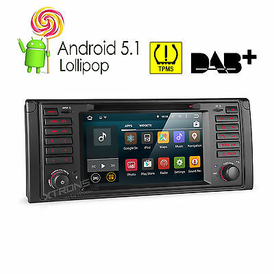 """Android 5.1 Car Standard Radio Stereo 7"""" DVD 1 DIN GPS for BMW E39 5 Series M5"""