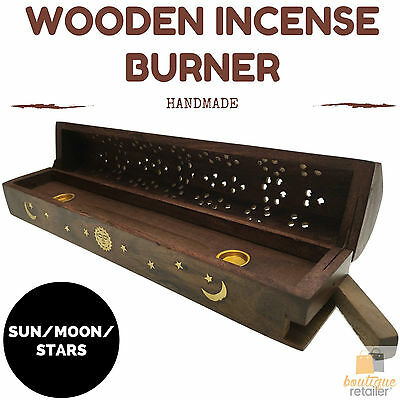 Premium WOODEN INCENSE BURNER Box Stick Hand Carved Cone Holder SUN MOON STARS