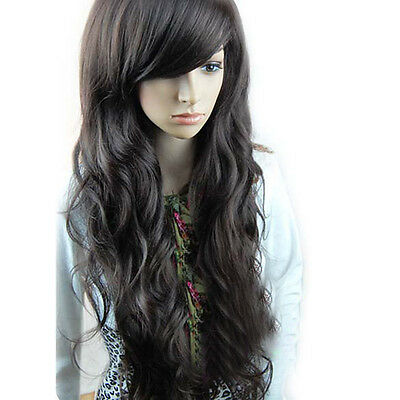 Fashion Stylish Long Women Full Curly Wavy Party Ladies Natural Hair Wig Black