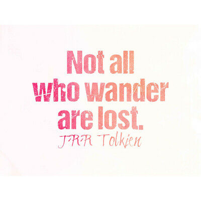 Not All Who Wander Lost Tolkien Quote Motivation Pink Unframed Wall Art Poster
