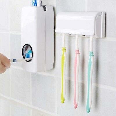 Automatic Toothpaste Dispenser With Five Toothbrush Holder Stand Wall Mount KS