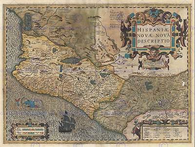 Geography Map Illustrated Antique Hondius Mercator Mexico Poster Print Bb4329B