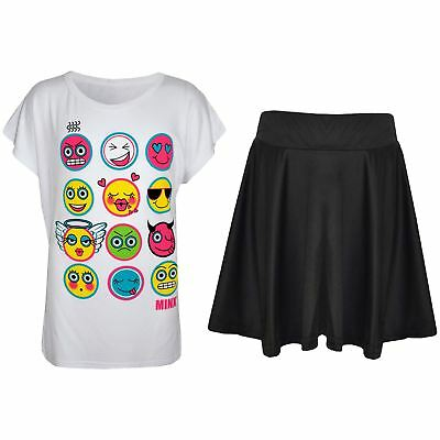 Kids Girls Emoji Emotions T Shirt Top & Fashion Skater Skirt Set Age 7-13 Years