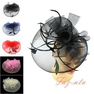 Gauze Hat Head Clip Flower Fascinator Red Navy Black Cream Pink Wedding Occasion