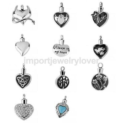 Crystal Heart Pendant Necklace Jewellery Cremation Urn Memorial Stainless Steel