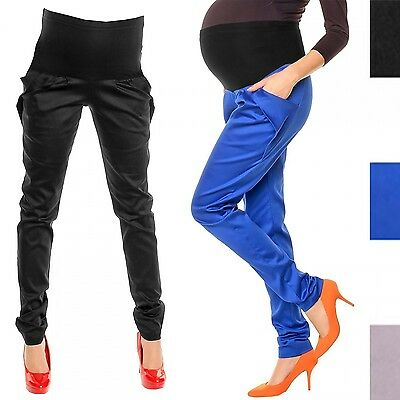 Happy Mama. Women's Maternity Pants Elastic Belly Band Trousers. Pockets. 040p