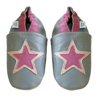 Soft Leather Baby Shoes With Suede Sole - Grey And Pink Star - Dotty Fish