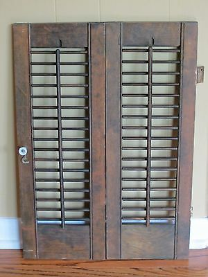 """2 Panels Old Shabby Window Wood Louver Shutter 22.75"""" x 8"""" Brown Color"""