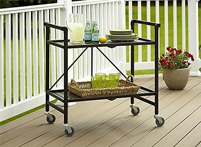 Outdoor Rolling Serving Cart Folding Metal Indoor Wheeled Kitchen Patio Tray