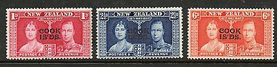 Cook Islands 1937 Coronation lightly mounted mint set stamps