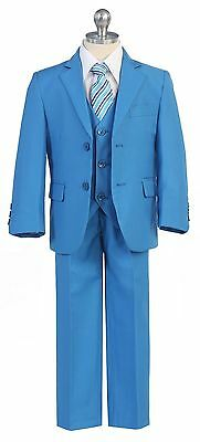 Boys Toddler Teen 5PC Wedding Formal Party FrenchBlue Suit Tuxedo w Vest sz 2-20