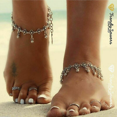 1 Pc Tibetan Boho Silver Foot Chain Dangle Flower Ankle Bracelet  Anklet #9