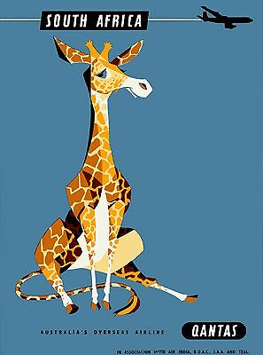 South Africa Giraffe Qantas Vintage African Travel Advertisement Poster