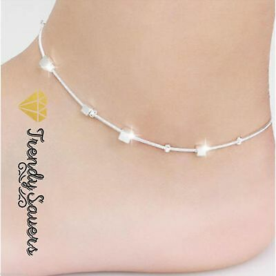 Small Box Sterling Silver Barefoot Sandals Leg Chain Foot Bracelet Anklet  #18